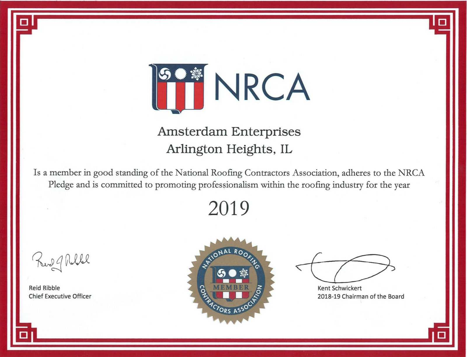 NRCA-National-Roofing-Contractors-Association-Certificate